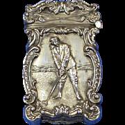 Golf motif match safe, sterling, c. 1900