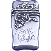 Entwined snake motif match safe, sterling, c. 1900, probably by Fairchild & Co.