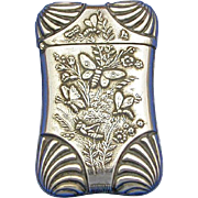 Butterflies, grasshopper and floral motif match safe, silver plated, c. 1895