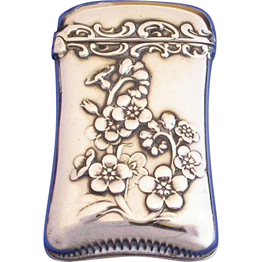 Floral motif match safe, sterling by Whiting Mfg. Co. , #2924