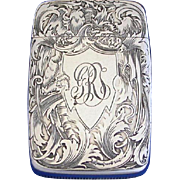 Engraved floral motif, match safe, sterling by Wm. Kerr, #3443