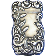 Snake and cattail motif, match safe, sterling by F. S. Gilbert