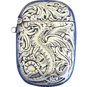 Winged dragon motif match safe, sterling, c. 1900
