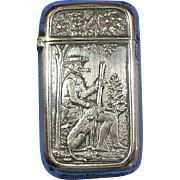 Hunter with dog motif, match safe, Pairpoint Mfg. Co. silver plated, c. 1895