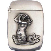 Mermaid motif match safe, sterling by Watson, Co., c. 1900, Not a Repro