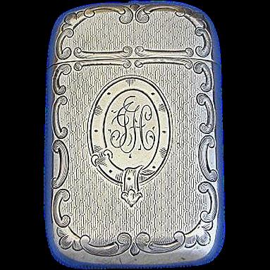 Order of the Garter motif with engine turned design match safe, sterling by R. Blackinton & Co., c. 1900