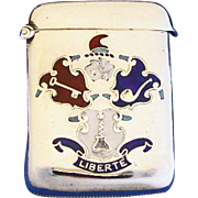 Enamel on sterling match safe with vice motif-playing cards, corkscrew, pipe, key; by Cohen & Charles, Chester 1904 hallmarks