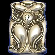 Art Nouveau design match safe, sterling by Unger Bros, cat. #3228