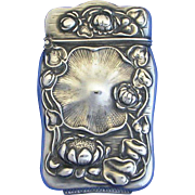 Unusual floral motif match safe, sterling, c. 1900
