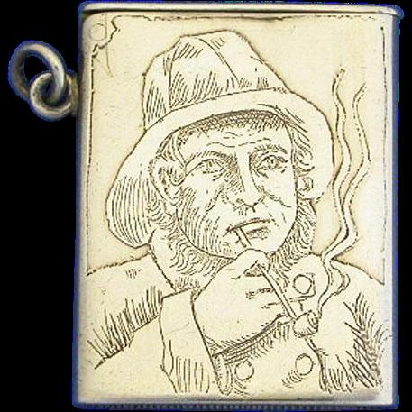 Seaman smoking pipe motif match safe, sterling, by Fairchild & Co., c. 1895