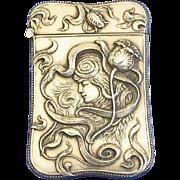 Art Nouveau motif match safe, sterling by L Fritzsche, c. 1900