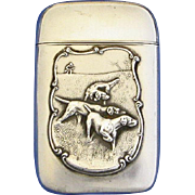 Hunting dogs on point motif match safe, sterling, c. 1900