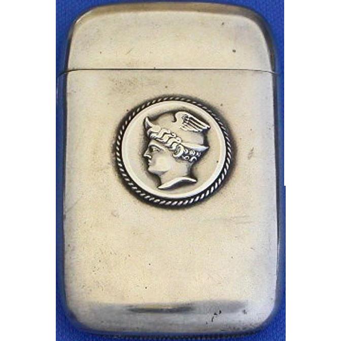 Homeric medallion match safe, sterling