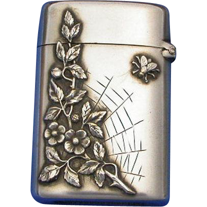 Floral design with spider web & bee, match safe, silver plated, c. 1900