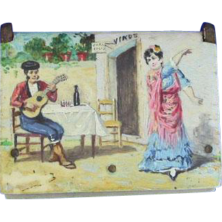 Musician and dancer, hand painted book-shaped celluloid match safe