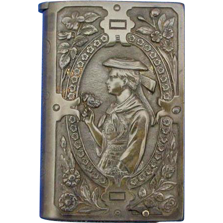 Young lady - sailor or fisherman motif match safe, book-shaped vulcanite by Harburger Gummi-Kamm Comp.