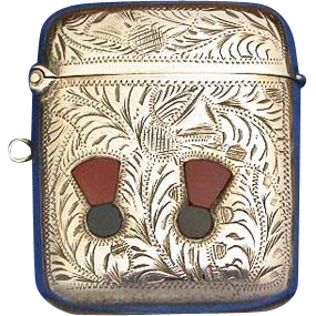 Match safe, engraved thistle design plus 2 agate inlaid thistles, silver plated, c. 1900
