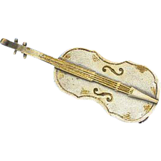 Figural violin match safe, c. 1890, plated brass
