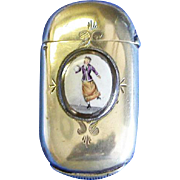 Lady roller skater match sage, enamel emblem, by H. J. & Co., original c. 1900