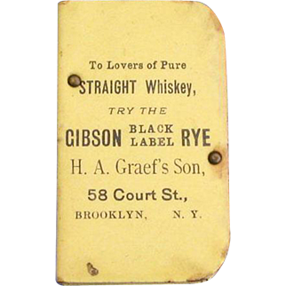 Gibson Black Label Rye Whiskey advertising match safe, celluloid, trick opening, by Epstein & Kowarsky
