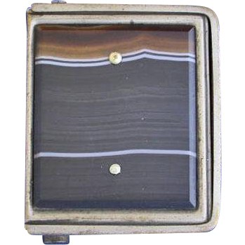 Unusual opening banded agate match safe, patent no. 32533, c. 1900