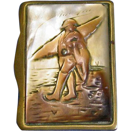 Fisherman walking along beach, French match safe, mother-of-pearl top, c. 1890