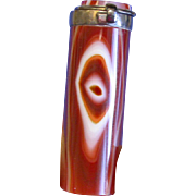 Oval shaped banded agate match safe with silver plated brass fitments, c. 1890