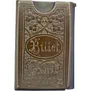 Railroad ticket holder match safe, vulcanite, steam engine, locomotive, c. 1890