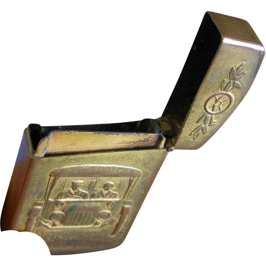 Union Train Station and automobile motif match safe with stamp holder by Kronheimer & Oldenbusch Company