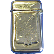 Match safe with stamp holder, c. 1895, Ger. Silver/Silver Solder