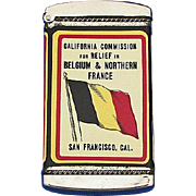 California Commission for Relief in Belgium & Northern France dime bank match safe, celluloid wrapped, Whitehead & Hoag