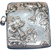 Floral motif match safe, 800 silver, German markings, Depose patented in France
