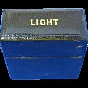 Victorian light box match safe, c. 1880, black leather covering