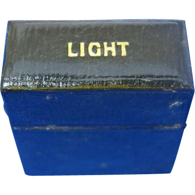Victorian light box match safe, c. 1880, black leather covering