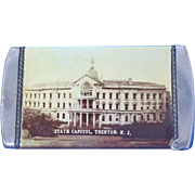 State Capitol & Municipal Building, Trenton, NJ souvenir match safe, celluloid wrapped, J. E. Mergott, c. 1910
