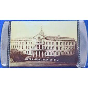 State Capitol & Municipal Building, Trenton, NJ souvenir match safe, celluloid wrapped, J. E. Mergott, c. 1910