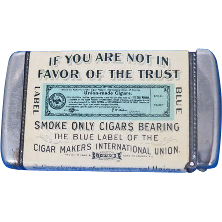 Cigar Makers International Unions of New York match safe, celluloid wrapped, by Whitehead & Hoag, c. 1904