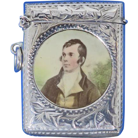 Robert Burns portrait match safe, silver plated, c. 1900