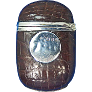 Match safe with alligator skin wrap, sterling cartouche and fitments, Birmingham 1898 hallmarks