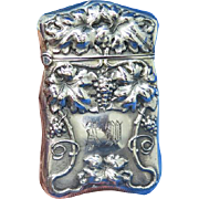 Grapevine motif match safe, sterling, c. 1900, gilted interior