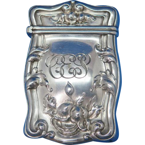 Floral motif match safe, sterling, 1910