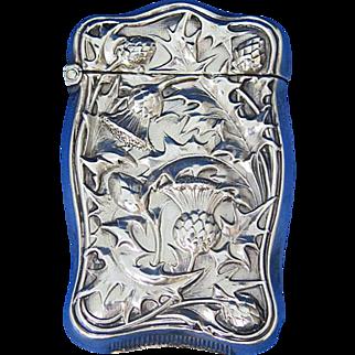 Thistle motif match safe, sterling, c. 1900