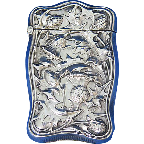 Thistle motif match safe, sterling, c. 1900