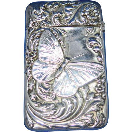 Butterfly and foliate motif match safe by Holmes & Edwards Silver Co., c. 1895, G. Silver