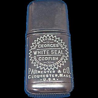 Georges White Seal Codfish, Parmenter & Co, Gloucester, Mass. adv. match safe, c. 1890, gutta percha