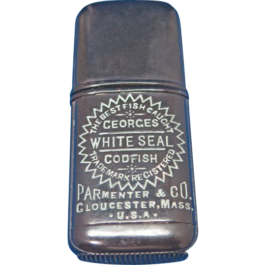 Georges White Seal Codfish, Parmenter & Co, Gloucester, Mass. adv. match safe, c. 1890, gutta percha