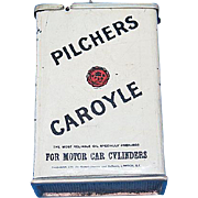 Figural Pilchers Caroyle 1 gallon oil can match safe, litho tin, c. 1910, RARE