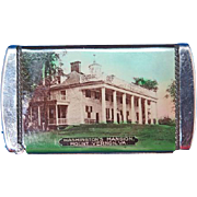 Mt Vernon souvenir match safe, Washington's Mansion & Tomb of Washington, celluloid with colored graphics