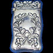 Wreath motif match safe, sterling, c. 1900