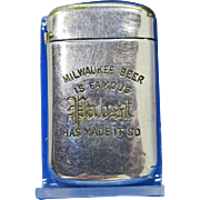 Pabst Beer, Milwaukee, advertising match safe, c. 1900, nickel plated brass